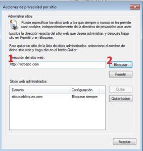 Bloquear o permitir cookies. Internet Explorer