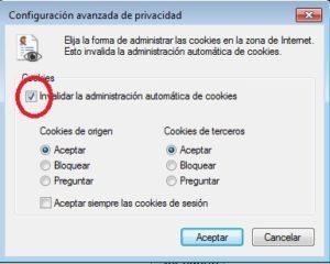 Configuración avanzada cookies. Internet explorer.