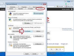 Acceso exportar certificados IE