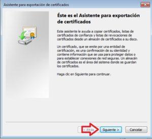 asistente exportar certificado