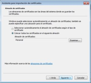 seleccionar almacén certificados