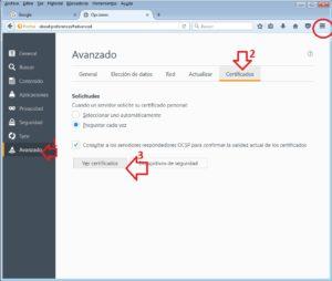 acceso certificados Mozilla