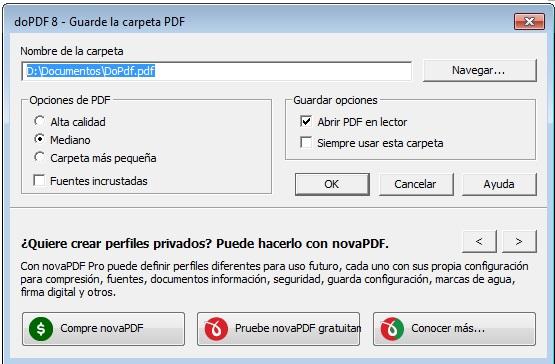 Opciones de doPdf. Guardar en Pdf