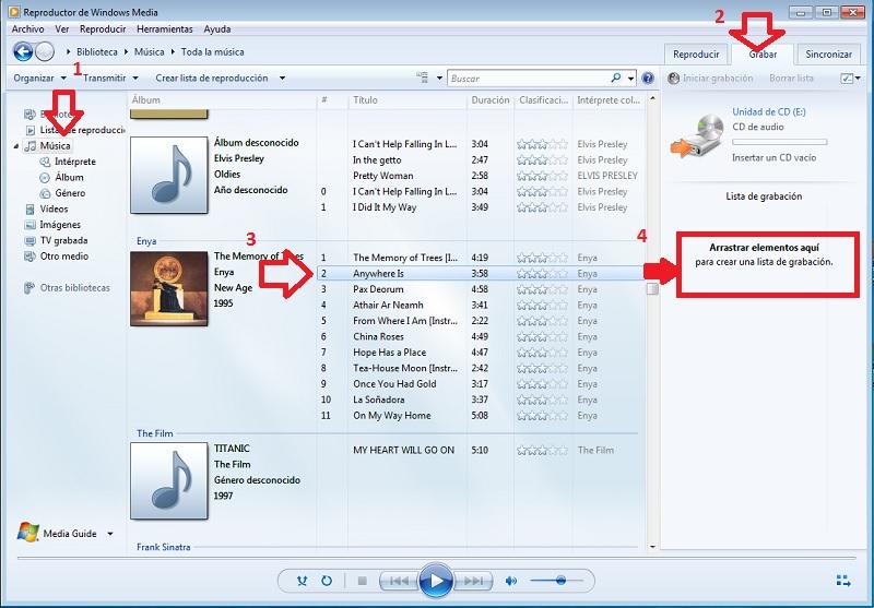Seleccionar música del ordenador