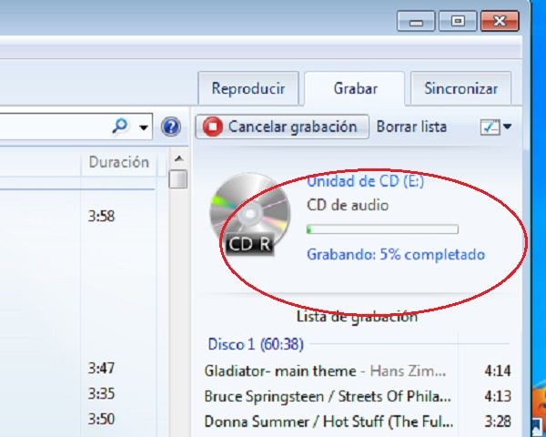 Proceso grabar CD música