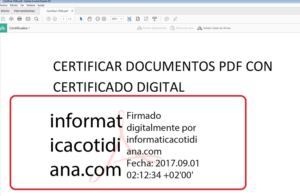 firma en el documento PDF