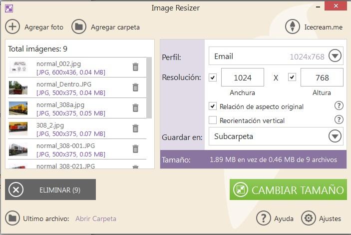 Opciones de modificación image Resizer