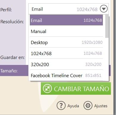 Perfiles Image resizer