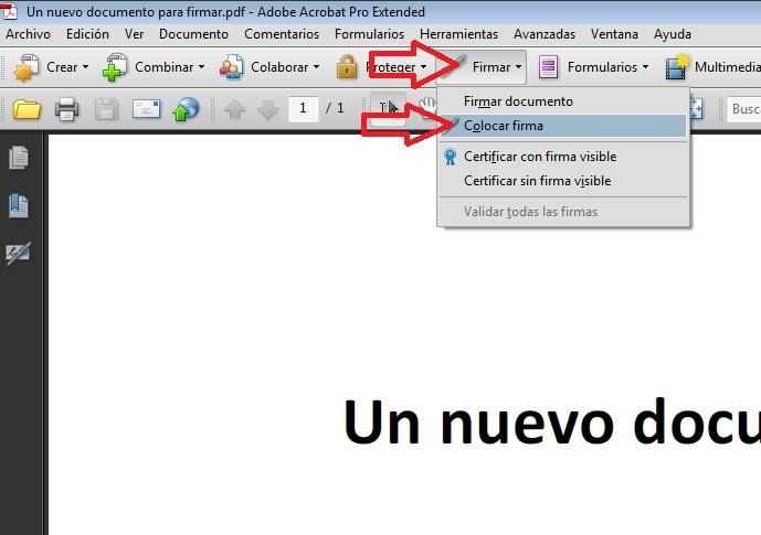 Firmar PDF menu