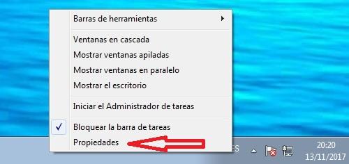 propiedades barra de tareas Windows