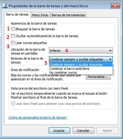 Propiedades Barra tareas Windows