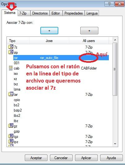 Tipos de archivos asociados a 7-Zip