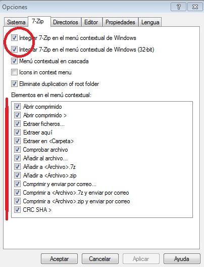 Opciones menú contextual 7-Zip
