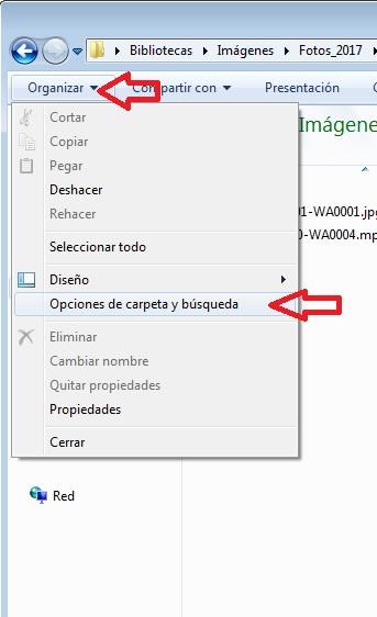 opciones de carpeta y búsqueda