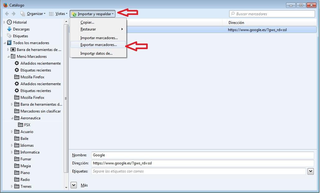 Exportar importar marcadores Firefox