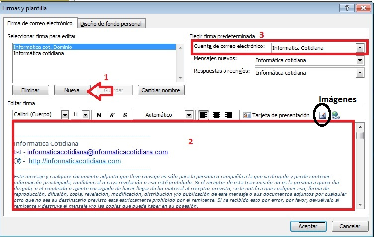 Cuado dialogo firma Outlook