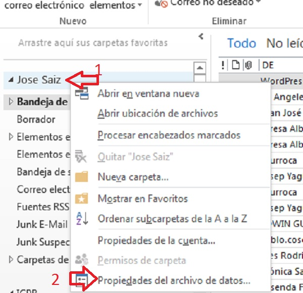 Compactar archivos Outlook