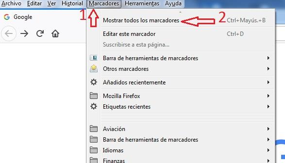 acceso catalogo marcadores Firefox