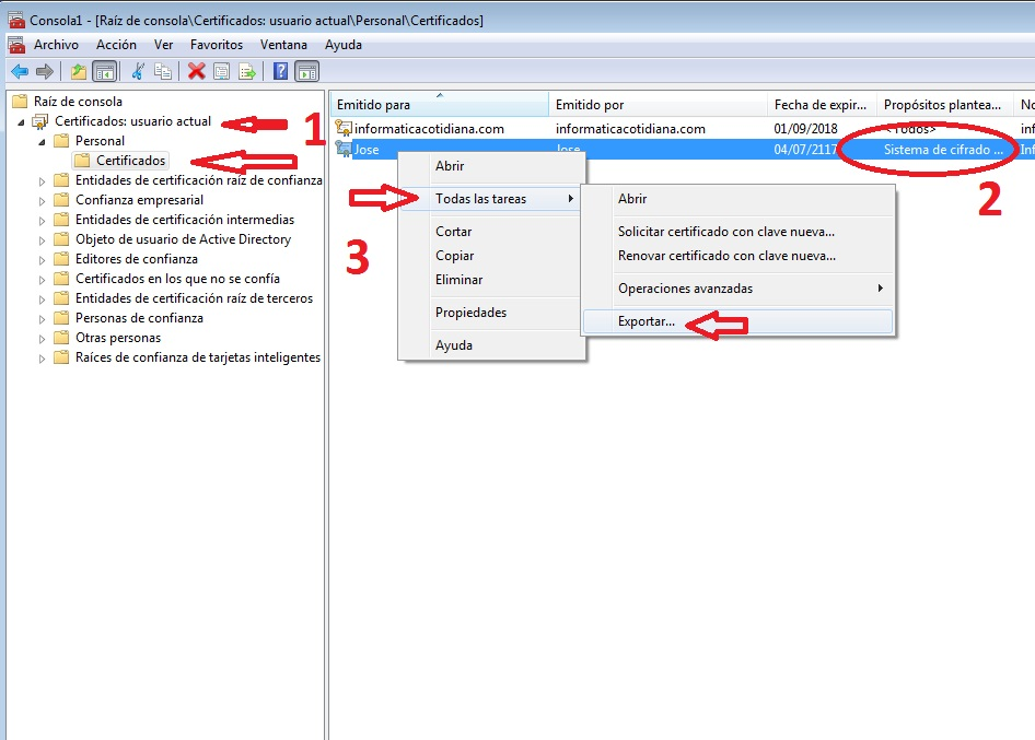 certificado encriptado archivos
