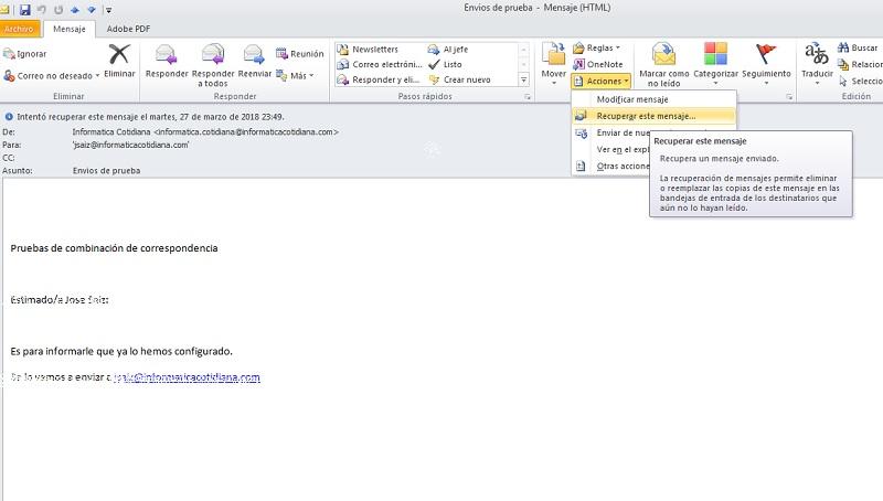 recuperar email enviado
