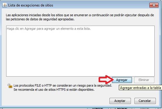 lista excepciones de seguridad en Java