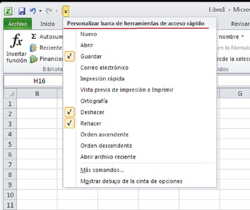 barra herramientas acceso rapido