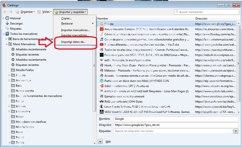 importar favoritos Firefox