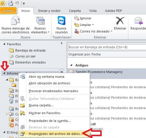 Propiedades de archivo Outlook