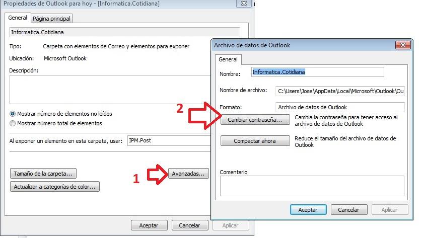 acceso cambio contraseña Outlook