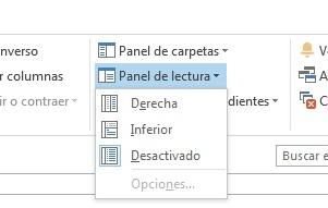 menu paneles outlook 2013