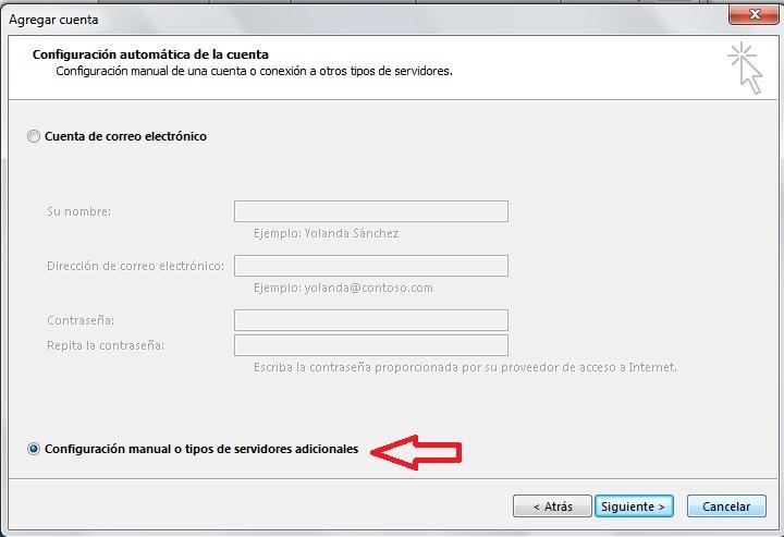 Configurar manual de Gmail en Outlook