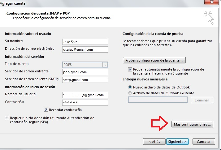 Configurar Gmail en outlook