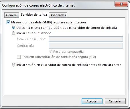 servidor salida configuracion
