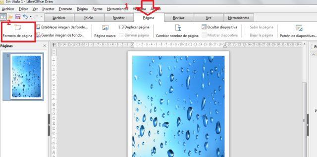 botón Fortmato de página Draw