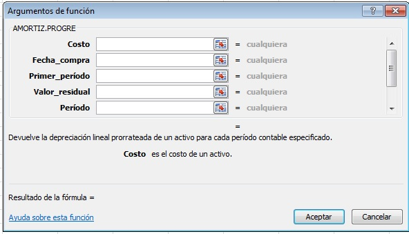 parametros amortizacion fórmula predefinida