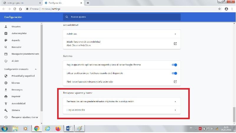 restablecer Chrome
