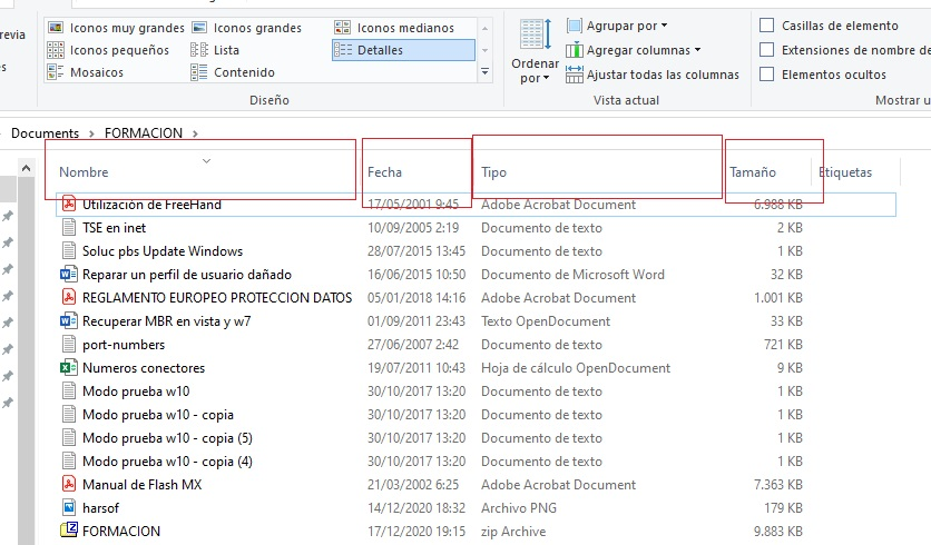 columnas explorador de archivos detalles
