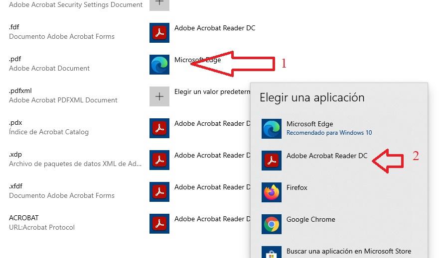 aplicaciones predeterminadas por aplicacion Adobe reader